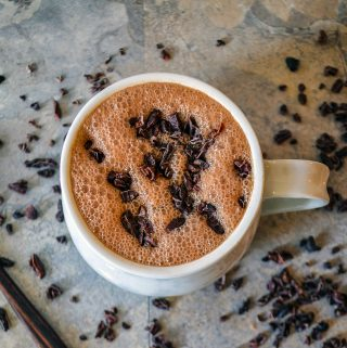 Vegan hot chocolate sugar free made with raw cacao powder