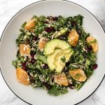 vegan creamy kale salad with lemon tahini dressing dates and clementines
