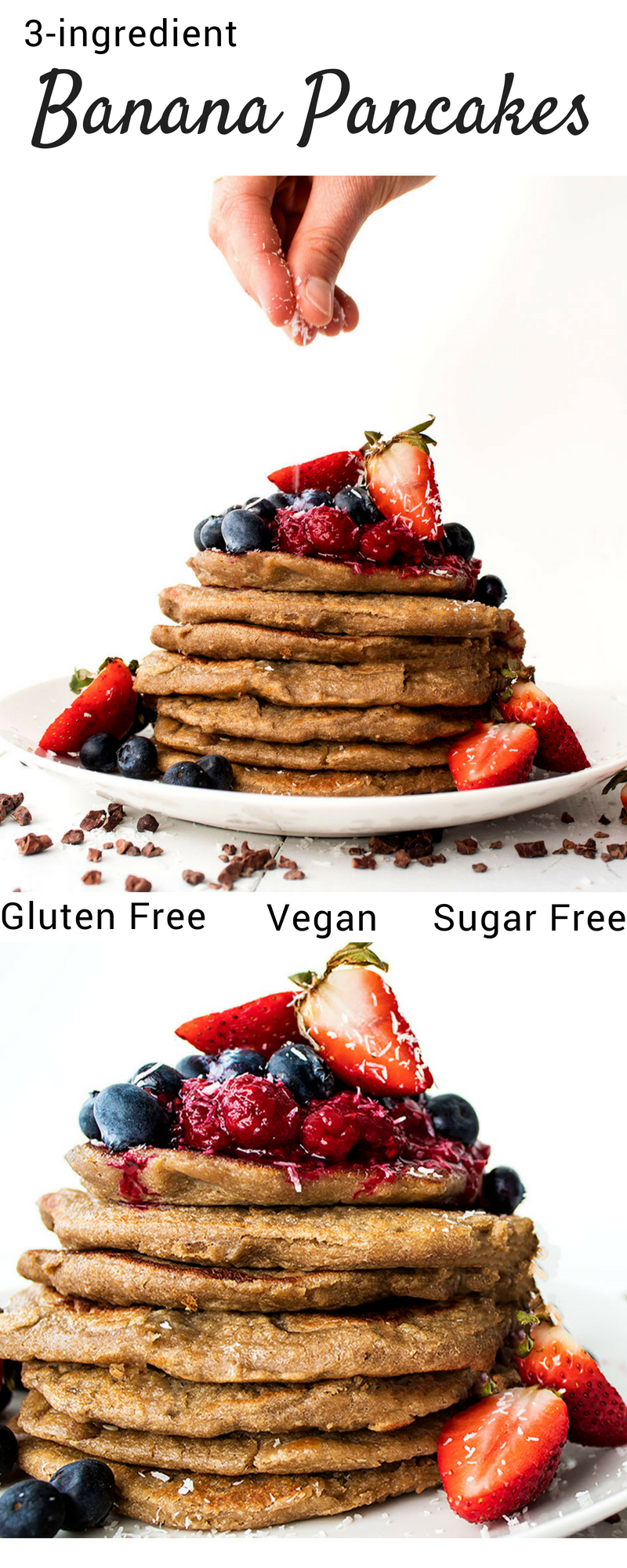 vegan 3 ingredient gluten free banana pancakes